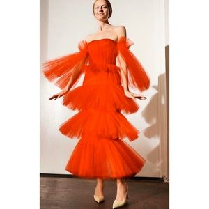 Carolina Herrera Red Tulle Off Shoulder Gown NWT